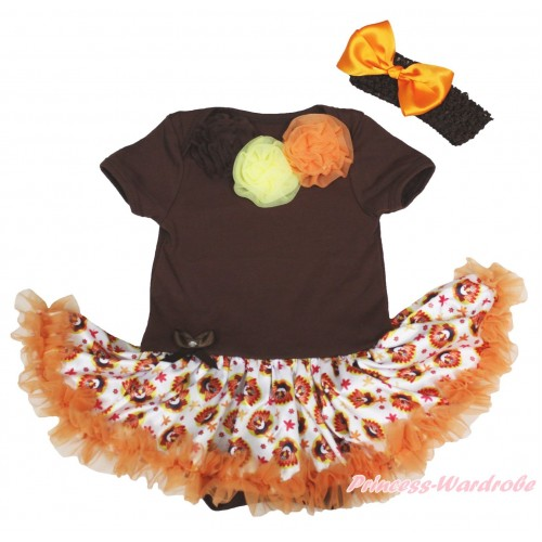 Thanksgiving Brown Baby Bodysuit Turkey Orange Pettiskirt & Brown Yellow Orange Rosettes JS4900