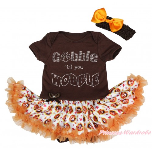 Thanksgiving Brown Baby Bodysuit Turkey Orange Pettiskirt & Sparkle Rhinestone Gobble Till You Wobble Print JS4903