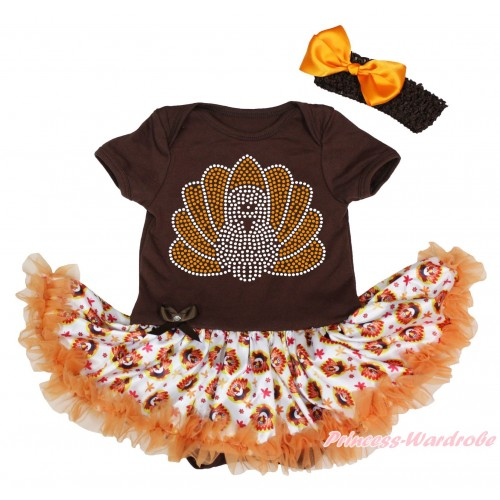 Thanksgiving Brown Baby Bodysuit Turkey Orange Pettiskirt & Sparkle Rhinestone Turkey Print JS4904