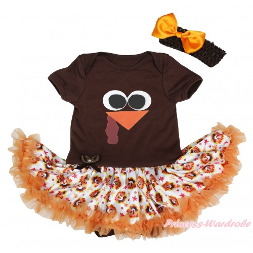 Thanksgiving Brown Baby Bodysuit Turkey Orange Pettiskirt & Turkey Face Print JS4905