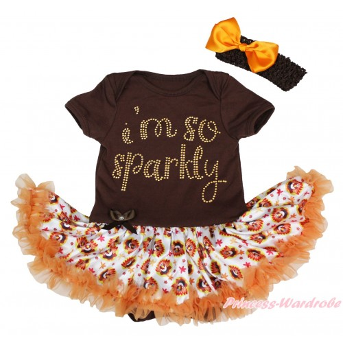 Brown Baby Bodysuit Turkey Orange Pettiskirt & Sparkle Rhinestone I M So Sparkly Print JS4906