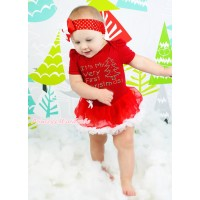 Christmas Red Baby Bodysuit Red White Pettiskirt & Sparkle Rhinestone It's My Very First Christmas Print JS4910