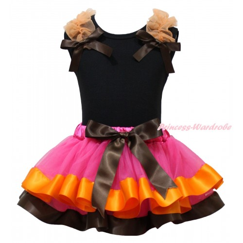 Black Tank Top Orange Ruffles Brown Bows & Hot Pink Orange Brown Trimmed Pettiskirt MG1914