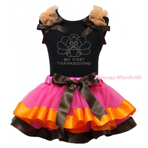 Thanksgiving Black Tank Top Orange Ruffles Brown Bow & Rhinestone Baby Turkey Print & Hot Pink Orange Brown Trimmed Pettiskirt MG1919