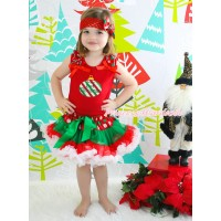 Red Tank Top Red White Green Dots Ruffles Red Bows & Red White Green Striped Christmas Lights Print & Red White Green Dots Pettiskirt MG1927
