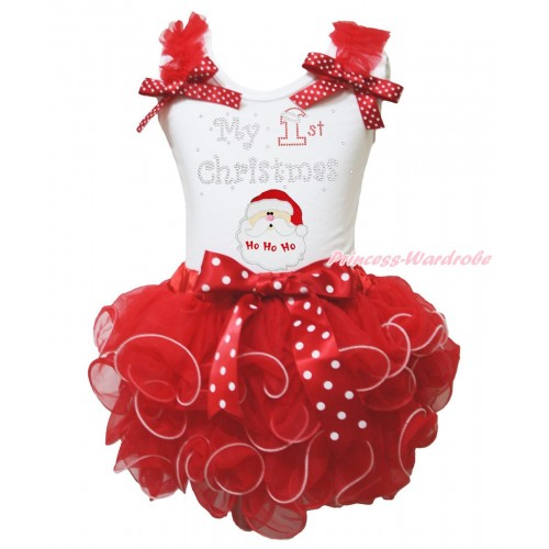Christmas White Baby Pettitop Red Ruffles Minnie Dots Bow & Rhinestone My 1st Christmas Santa Claus & Hot Red Petal Newborn Pettiskirt NG1882