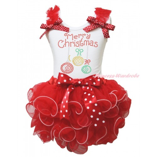 Christmas White Baby Pettitop Red Ruffles Minnie Dots Bow & Rhinestone Christmas Lights & Hot Red Petal Newborn Pettiskirt NG1883