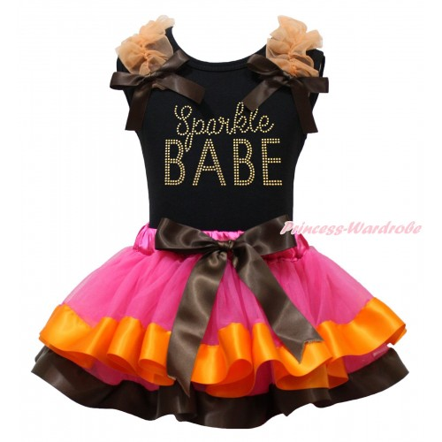 Black Baby Pettitop Orange Ruffles Brown Bows & Rhinestone Sparkle BABE Print & Hot Pink Orange Brown Trimmed Newborn Pettiskirt NG1891