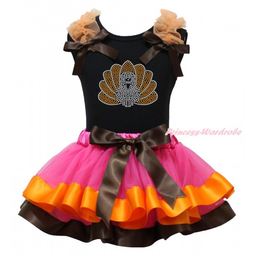 Thanksgiving Black Baby Pettitop Orange Ruffles Brown Bows & Rhinestone Turkey Print & Hot Pink Orange Brown Trimmed Newborn Pettiskirt NG1892