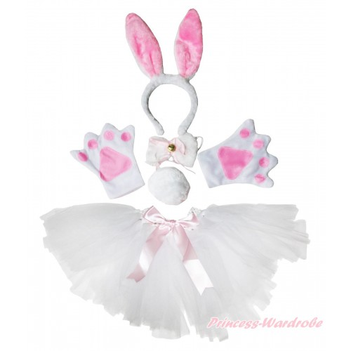 Easter Rabbit 4 Piece Set in Headband, Tie, Tail , Paw & White Ballet Tutu & Bow PC088