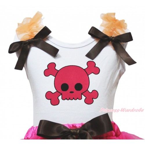 Halloween White Tank Top Orange Ruffles Brown Bow & Hot Pink Skeleton Print TB1350