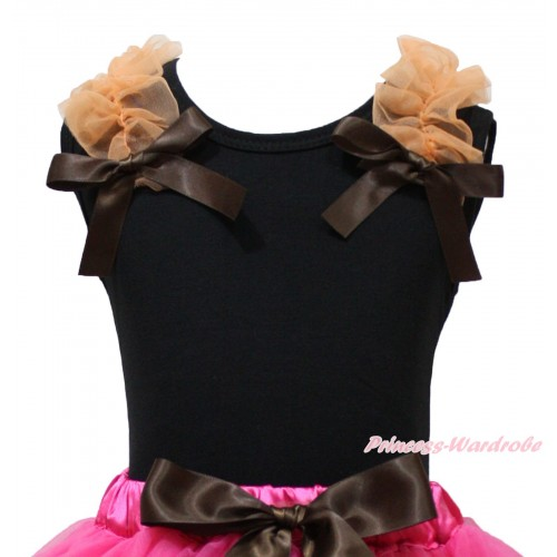 Black Tank Top Orange Ruffles Brown Bow TB1364