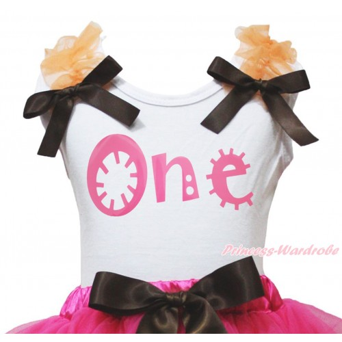 White Tank Top Orange Ruffles Brown Bow & Pink One Painting TB1365