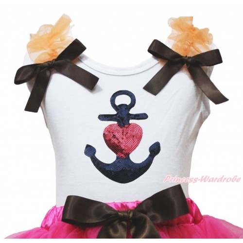 White Tank Top Orange Ruffles Brown Bow & Sparkle Sequins Heart Anchor Print TB1366
