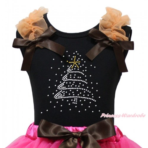 Christmas Black Tank Top Orange Ruffles Brown Bow & Sparkle Rhinestone Christmas Tree Print TB1367