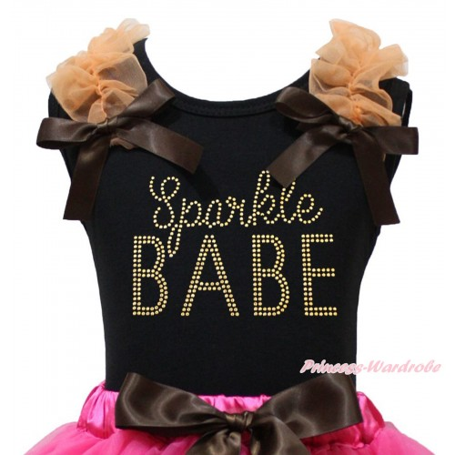 Black Tank Top Orange Ruffles Brown Bow & Sparkle Rhinestone Sparkle BABE Print TB1369