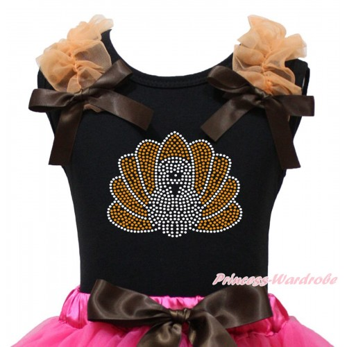 Thanksgiving Black Tank Top Orange Ruffles Brown Bow & Sparkle Rhinestone Turkey Print TB1370