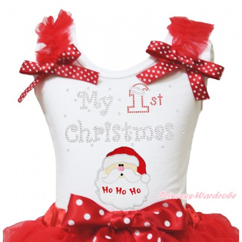 Christmas White Tank Top Red Ruffles Minnie Dots Bow & Sparkle Rhinestone My 1st Christmas Santa Claus Print TB1371