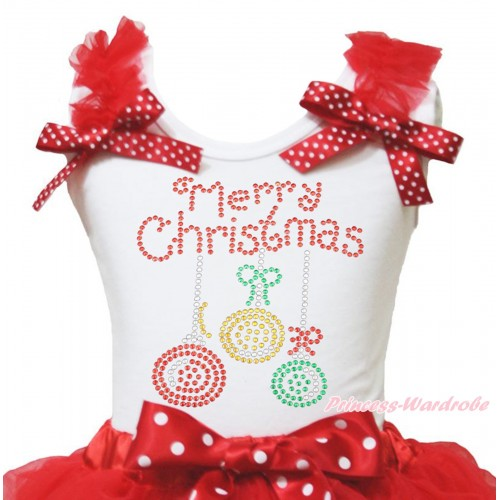 Christmas White Tank Top Red Ruffles Minnie Dots Bow & Sparkle Rhinestone Christmas Lights Print TB1372