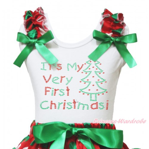 Christmas White Tank Top Red White Green Dots Ruffles Kelly Green Bow & Sparkle Rhinestone It's My Very First Christmas Print TB1373