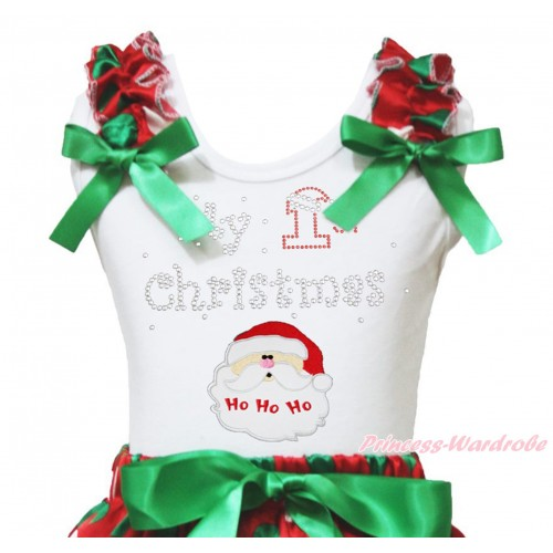 Christmas White Tank Top Red White Green Dots Ruffles Kelly Green Bow & Sparkle Rhinestone My 1st Christmas Santa Claus Print TB1374