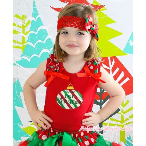 Christmas Red Tank Top Red White Green Dots Ruffles Red Bow & Red White Green Striped Christmas Lights Print TB1376