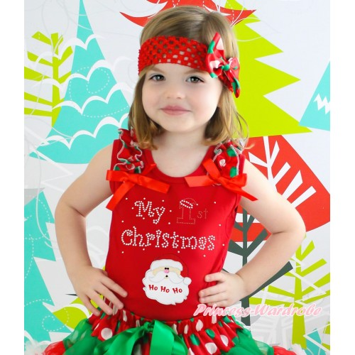 Christmas Red Tank Top Red White Green Dots Ruffles Red Bow & Sparkle Rhinestone My 1st Christmas Santa Claus Print TB1377