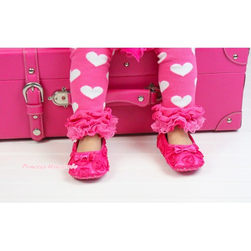 Baby Hot Pink Rosettes Crib Shoes S119