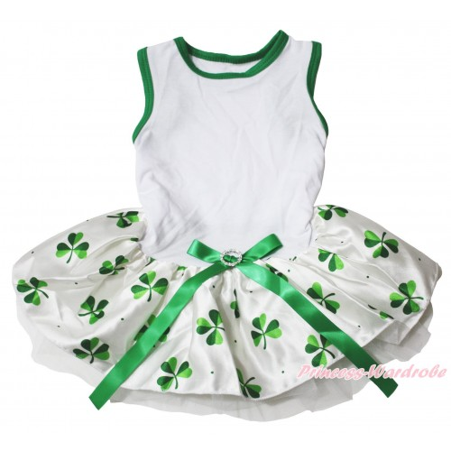 White Sleeveless Clover Gauze Skirt & Kelly Green Rhinestone Bow Pet Dress DC222