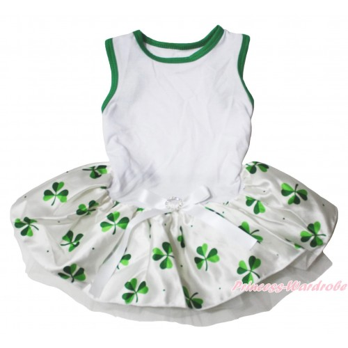 White Sleeveless Clover Gauze Skirt & White Rhinestone Bow Pet Dress DC223