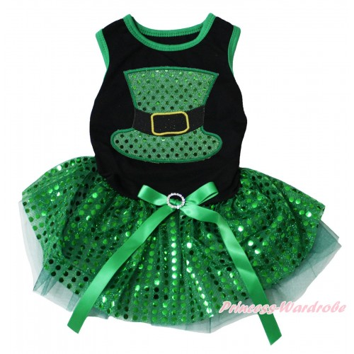St Patrick's Day Black Sleeveless Kelly Green Bling Sequins Gauze Skirt & Sparkle Kelly Green Hat Print & Rhinestone Bow Pet Dress DC224