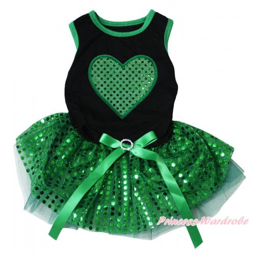 St Patrick's Day Black Sleeveless Kelly Green Bling Sequins Gauze Skirt & Sparkle Kelly Green Heart Print & Rhinestone Bow Pet Dress DC303