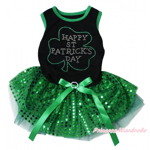 St Patrick's Day Black Sleeveless Kelly Green Bling Sequins Gauze Skirt & Sparkle Crystal Bling Rhinestone Clover Print & Rhinestone Bow Pet Dress DC306