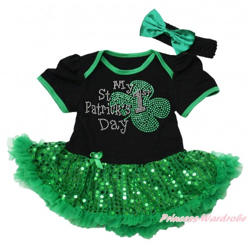 St Patrick's Day Black Baby Bodysuit Bling Kelly Green Sequins Pettiskirt & Sparkle Rhinestone My 1st St Patrick's Day Print JS5315