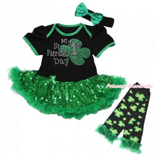 St Patrick's Day Black Baby Bodysuit Bling Kelly Green Sequins Pettiskirt & Sparkle Rhinestone My 1st St Patrick's Day Print  & Warmers Leggings JS5318