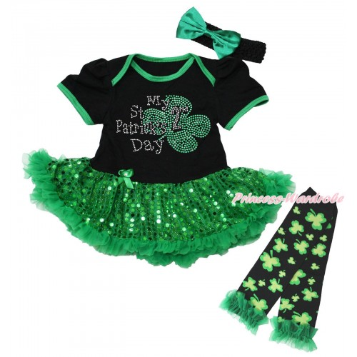St Patrick's Day Black Baby Bodysuit Bling Kelly Green Sequins Pettiskirt & Sparkle Rhinestone My 2nd St Patrick's Day Print  & Warmers Leggings JS5319