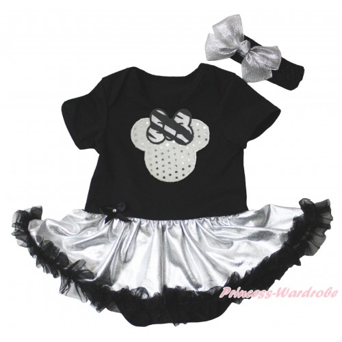 Black Baby Bodysuit Silver Black Pettiskirt & Sparkle White Minnie Print JS5331