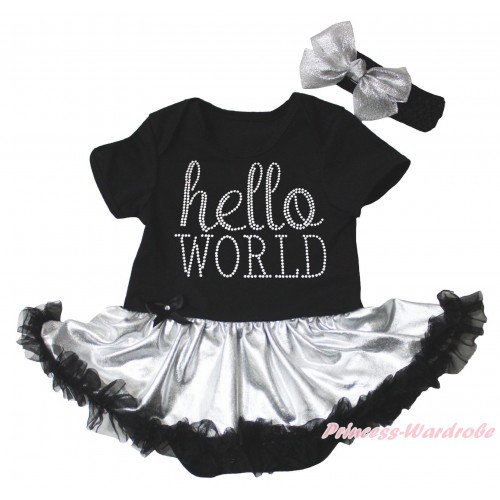 Black Baby Bodysuit Silver Black Pettiskirt & Sparkle Rhinestone Hello World Print JS5332