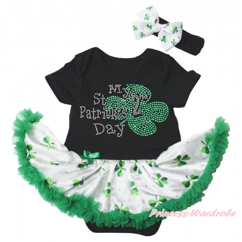 St Patrick's Day Black Baby Bodysuit White Kelly Green Clover Pettiskirt & Sparkle Rhinestone My 2nd St Patrick's Day Print JS5341