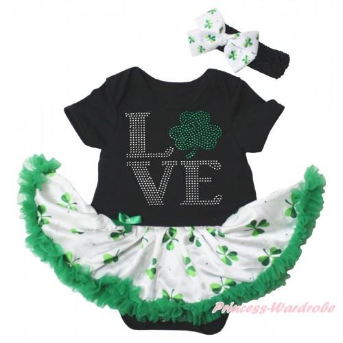 St Patrick's Day Black Baby Bodysuit White Kelly Green Clover Pettiskirt & Sparkle Rhinestone Love Clover Print JS5342