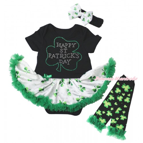 St Patrick's Day Black Baby Bodysuit White Kelly Green Clover Pettiskirt & Sparkle Rhinestone Clover Print & Warmers Leggings JS5344