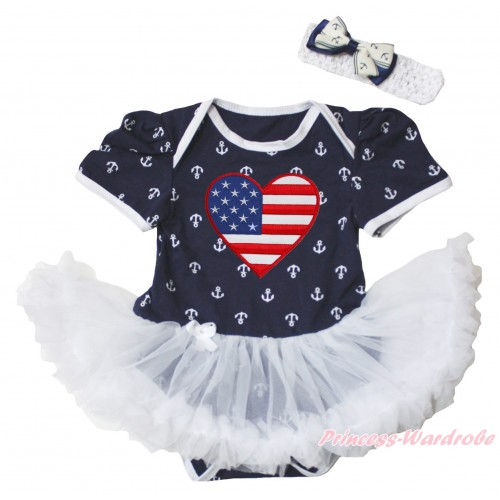 American's Birthday Dark Blue White Anchor Baby Bodysuit Jumpsuit White Pettiskirt & Patriotic American Heart Print JS5346