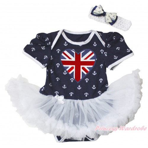 American's Birthday Dark Blue White Anchor Baby Bodysuit Jumpsuit White Pettiskirt & Patriotic British Heart Print JS5347