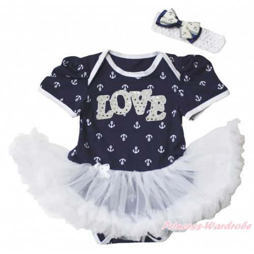 Dark Blue White Anchor Baby Bodysuit White Pettiskirt & Sparkle White LOVE Print JS5348