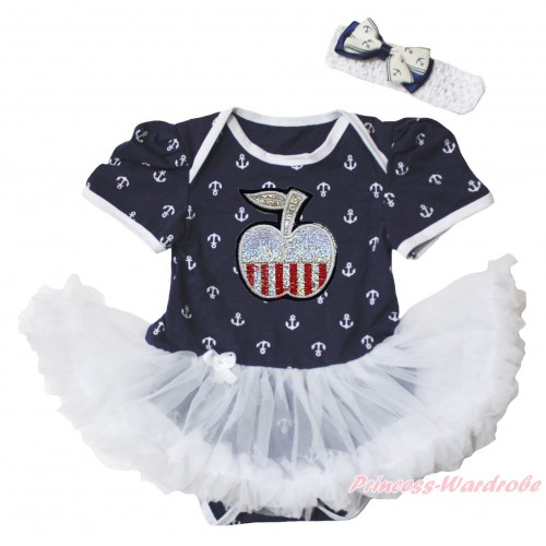 American's Birthday Dark Blue White Anchor Baby Bodysuit Jumpsuit White Pettiskirt & Patriotic Apple Print JS5349