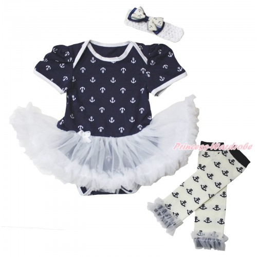 Dark Blue White Anchor Baby Bodysuit White Pettiskirt & Warmers Leggings JS5350