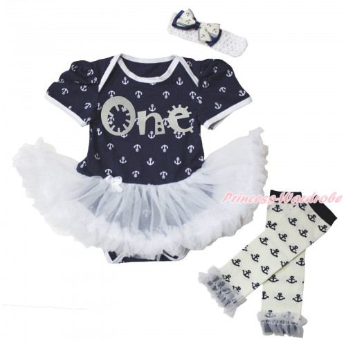Dark Blue White Anchor Baby Bodysuit White Pettiskirt & Sparkle Grey One Painting & Warmers Leggings JS5351