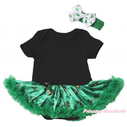 St Patrick's Day Black Baby Bodysuit Kelly Green Clover Pettiskirt JS5378