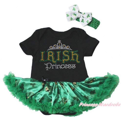 St Patrick's Day Black Baby Bodysuit Kelly Green Clover Pettiskirt & Sparkle Rhinestone IRISH Princess Print JS5381