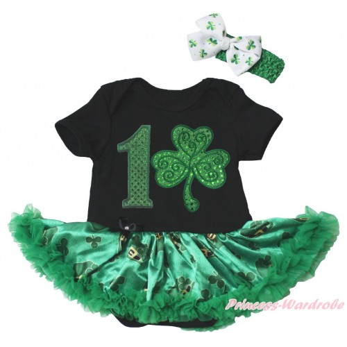 St Patrick's Day Black Baby Bodysuit Kelly Green Clover Pettiskirt & 1st Sparkle Kelly Green Birthday Number Clover Print JS5382